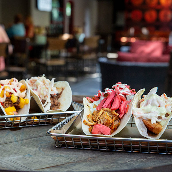 a variety of tacos at down one bourbon bar