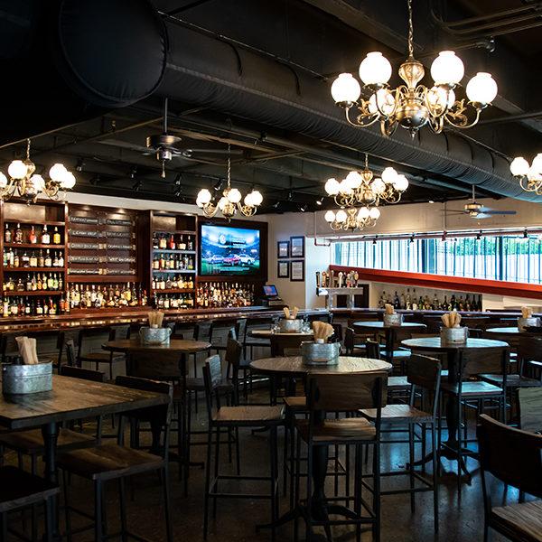 the interior bar area at down one bourbon bar
