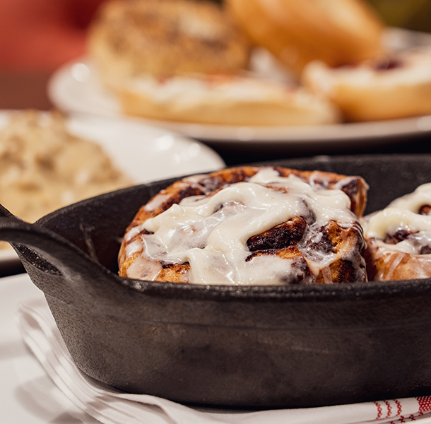 large cinnamon rolls at walker's exchange restaurant brunch