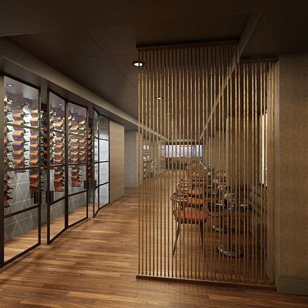 a rendering of the main entrance of swizzle restaurant and lounge showing a wine rack and seating