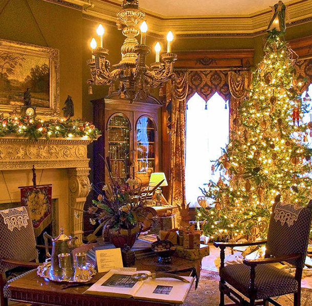christmas tree in a 19th century style library