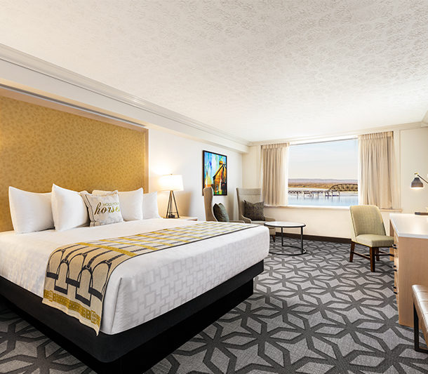 a renovated deluxe room in the galt house hotel west tower