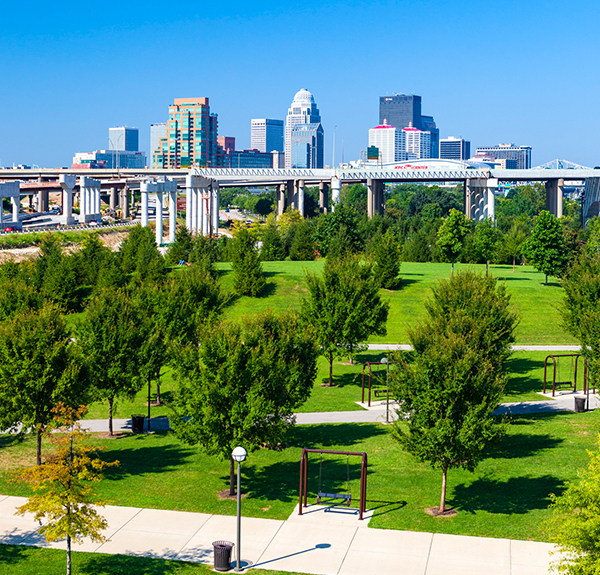 view of waterfront park looking towards downtown louisville